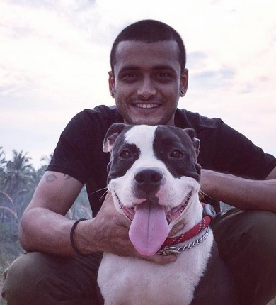 Aravinf kp with his dog