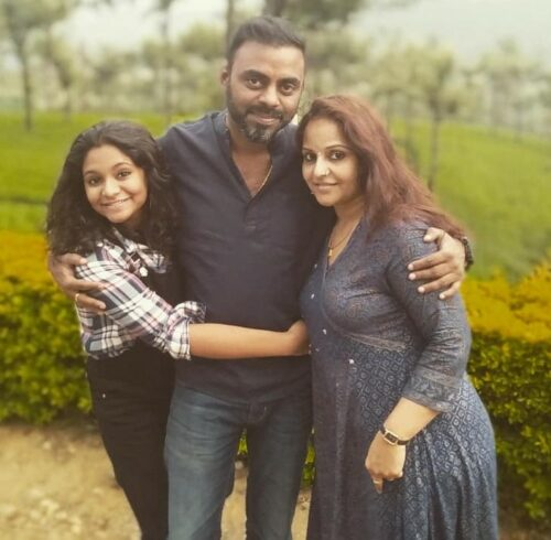 Venkat with his wife on right